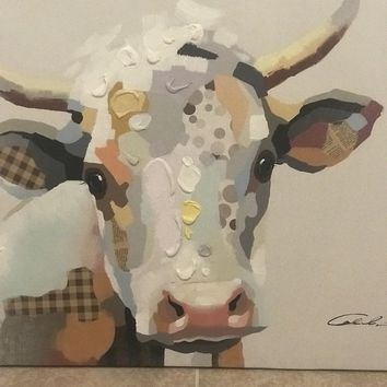 Cow Portrait Oil & Mixed Media Hand Painted Pop Art Stretched 24X36 Painting