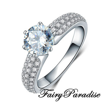 1 Ct Round Cut Man Made Diamond Solitaire Promise Ring / Engagement Rings in 3 rows pave band, Anniversary gift  (Fairy Paradise) MR063