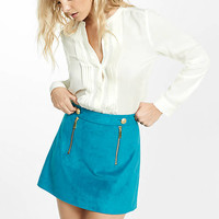Faux Suede Button And Zipper A-Line Mini Skirt