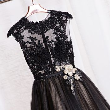 A black shoulder long dress lace beads Tutu Dress Party dress homecoming dress