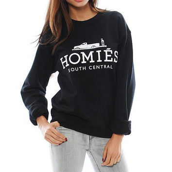 2016 Women long sleeve Pullovers brand new sweatshirt Homies letter print O-neck black Hoodies Sweatshirts Fashion Pullovers