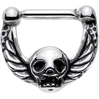 "14 Gauge 5/16"" Deadly Detail Skull with Wings Hinged Septum Clicker"