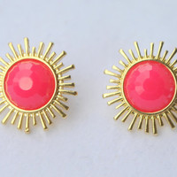 Earrings, Fuchsia Earrings, Stud Earrings, Sunburst  Earrings, Kate Spade Inspired, Summer Jewelry.