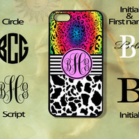 Monogram Cow and Colorful Leopard Print -iPhone 5 , 5s, 5c,4s, 4,Ipod touch 4, 5, Samsung GS3, GS4, GS5-Silicone Rubber or Hard Plase, cover