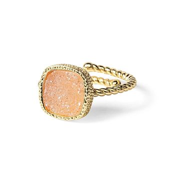 Princess Champagne Pink Druzy Cable Ring