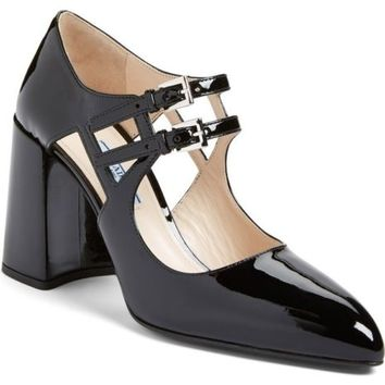 PRADA Double Mary Jane Pump ~ Size 35 ~ Black Leather ~ MSRP $790