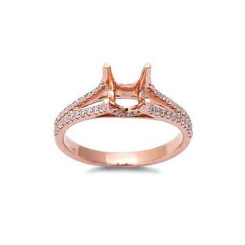 14kt Rose Gold Engagement Ring Pave E SI Diamond Semi Mount, wedding ring , engagement ring, pink gold ring , gold semi mount ring , diamond