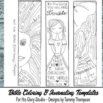 Trust Him - bible journaling, black and white, PDF, 3 printable sketches, bookmarks, coloring, bible verses