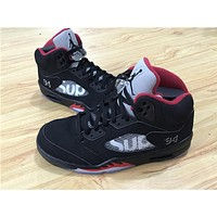 Air Jordan 5 black red Basketball Shoes 41-47
