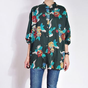 80s Vintage Floral Shirt / Oversized Casual Asian Style Stand-Up Collar Shirt