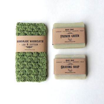 Gift set for men, Christmas gift set, soap and washcloth, crochet wash cloth, stocking stuffer, vegan soap all natural