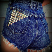 Vintage High Waisted Studded Cut Off Acid Wash by TrueBlueDryGoods