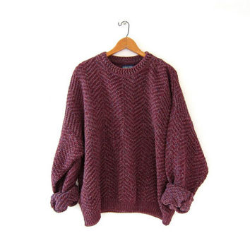 vintage speckled sweater. loose knit chunky sweater. Purple + pink sweater. oversized sweater.