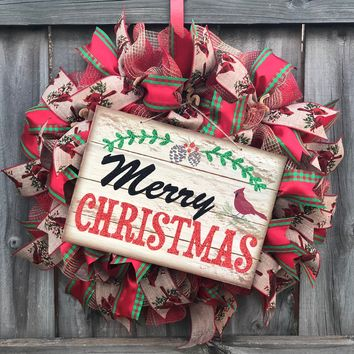 Rustic Christmas Mesh Outdoor Front Door Wreath; Door Hanger, Red, Burlap