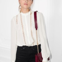 & Other Stories | Lace Panel Blouse | Off white