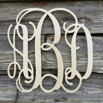 Wooden Monogram - Unpainted Wood Monogram - Wood Letters