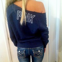 Victoria's Secret blue crew sd sweatshirt NWT xs