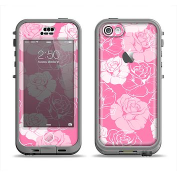 The Subtle Pinks Rose Pattern V3 Apple iPhone 5c LifeProof Nuud Case Skin Set