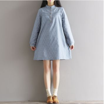 LOOSE COLLEGE WIND SMALL LEAF PRINTED COTTON AND LINEN DRESS TIDE