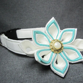Dog Collar and Flower - MADE TO ORDER Wedding White and Blue Silk Kanzashi Flower with White cotton Collar - wedding dog collar