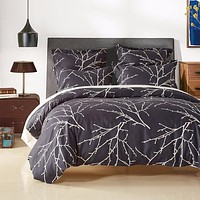 Modern Plant Bedding Set Branch Printed Duvet Cover set Bed Cover Pillowcase 2-3PCS US UK Russia Size Twin Queen King