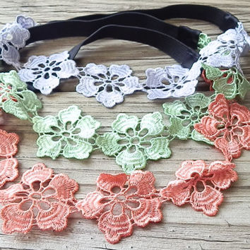 FLASH SALE: Floral Head wrap, Headbands, Flower Crown, Hippie Headband, Floral lace headband, Stretchy elastic back hair band