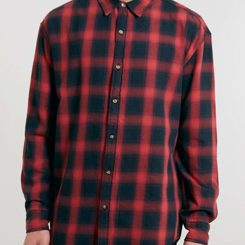 Red and black Longline Check Shirt - Long Sleeve Shirts - Men's Shirts - Clothing- TOPMAN USA