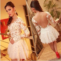 white prom lace patchwork mini dress