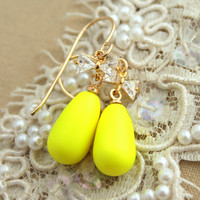 Yellow Neon bow cz zirconia rhinestone gold filled earrings - 14k gold filled Swarovski neon pearls