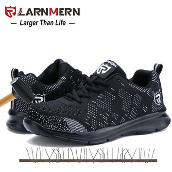 LARNMERN Black Steel Toe Work Safety Shoes For Men Anti-smashing Construction Shoes Men's boots