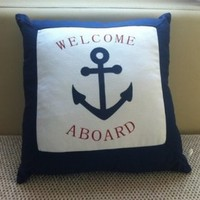 """Canvas Decorative Pillow Case Pillow Cover Case 18"""" x 18"""" Square Shape Anchor Printed Surface With Words Detail PDP 0519"""