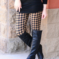 MOCHA HOUNDSTOOTH LEGGINGS