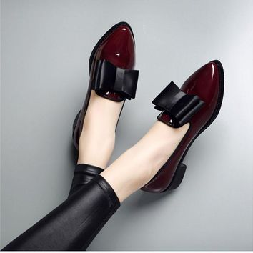 High quality patent leather wine red women causal pointed toe bow knot flat loafer la