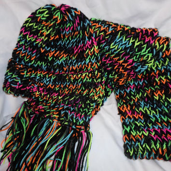 Neon Multicolored Blue Purple Green Pink Yellow Orange Black Hat and Scarf Set