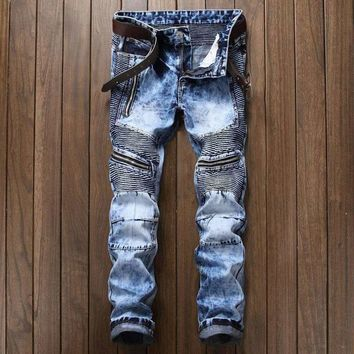 Mens Ripped-Hole Ripped Biker Jeans