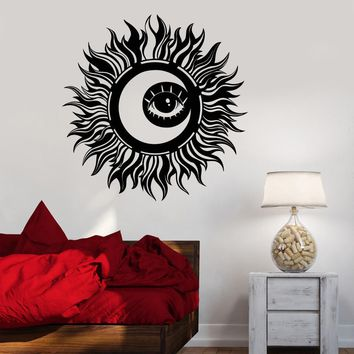 Vinyl Wall Decal Abstract Sun Moon Eye Day Night Bedroom Decor Stickers Unique Gift (1523ig)
