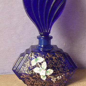 Vintage hand painted perfume bottle, cobalt blue and gold Bohemian glass perfume bottle, Maskl, wedding gift