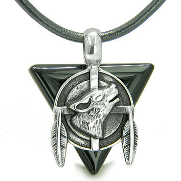 Amulet Arrowhead Howling Wolf Trinity Dreamcatcher Black Agate Leather Pendant Necklace