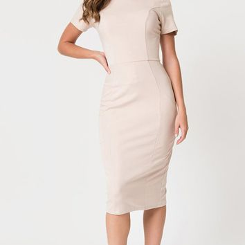 Do The Right Thing Nude Short Sleeve Boat Neck Bodycon Midi Dress