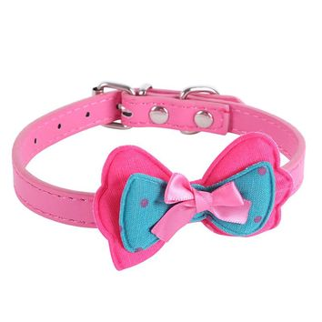 Cute Polka Dots Bow Small Pets Dogs Collar Leather Choker Puppy Necklace XS-L