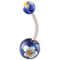 Glitter Ball End Belly Button Ring For Girls [Gauge: 14G - 1.6mm / Length: 12mm] 316L Surgical Steel & Acrylic (Blue) (BHPG27)
