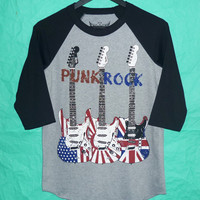 Punk Rock T-Shirt Baseball TEE Punk Rock Music Guitar Style Rock Teen tee shirt vintage  teen men women shirt Size S M L XL