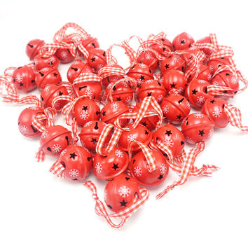 Christmas decoration 40 pcs red metal snowflake jingle bell Christmas ornament for home 30mm party decoration tree pendant