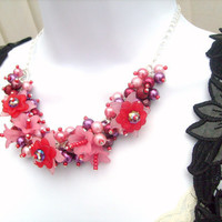 Summer Pudding   Pearl Beaded Floral Necklace by Kim by KIMMSMITH