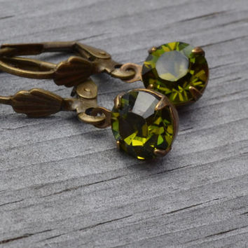 Olivine Rhinestone Earrings, Antique Brass Lever Back, Olive Green Swarovski  Earrings, Gift for Her, Le Printemps