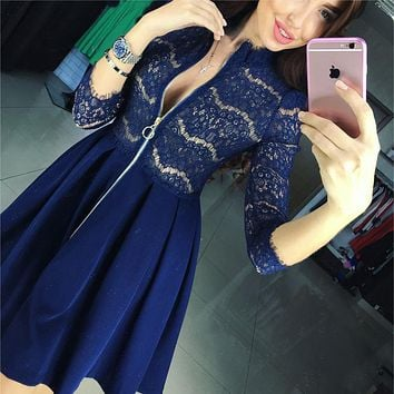 Womens Dresses 2016 Zipper V Neck 3/4 Sleeve Sexy Lace Pleated Dress Blue Black  Autumn Female Party Vestidos Plus size
