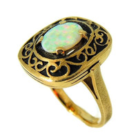 Estate Opal Ring 14k Gold Victorian Style Filigree Setting Vintage