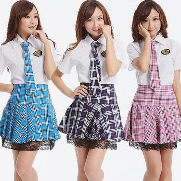 New 2014 Japanese School Uniform Set Girls White Shirt and Red Plaid Skirt School Clothes Preppy Style For High School
