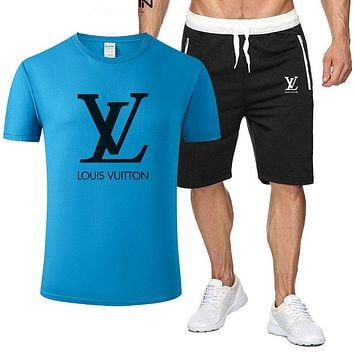 LV Louis Vuitton Fashion New Letter Print Sports Leisure Top And Pants Two Piece Suit Men Blue