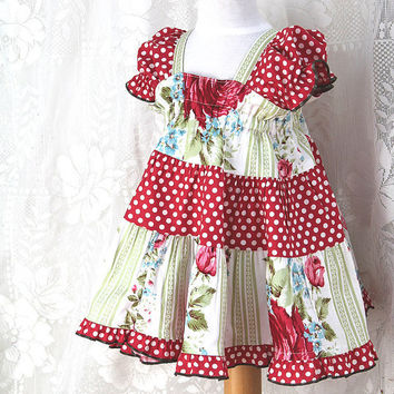 Cottage Chic Baby Dress Handmade  Baby Clothes Infant Sizes 3 6 9 12 or 18 months  Rose Garden Baby Girl Dress  Cotton Children's Clothing